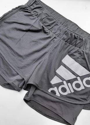 Adidas двойные шорты спортивные