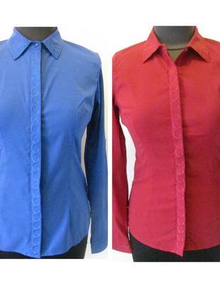 Рубашка коттоновая однотонная, с вышивкой на полочке, с длинным рукавом, код 1214м