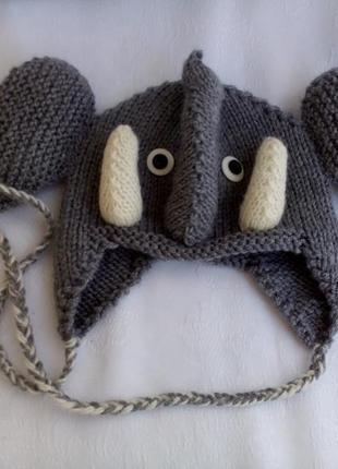 """""""слоник"""" шапочка для малыша ручная вязка), шерсть, от 6 м до 2 лет"""
