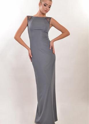 Эллегантное вечернее платье в пол микродайвинг с кружевом венеция серый графит