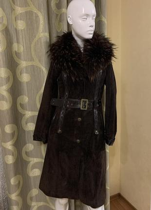 Пальто замшевое воротник чернобурка пальто дублёнка