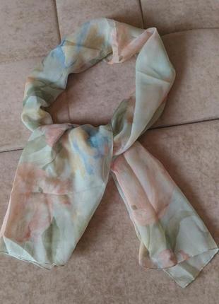 Шифоновый нежный шарф с цветочным принтом, италия