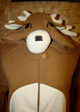 Флисовый комбинезон-олень( кигуруми,костюм для дома )cedarwood state р.р.s,m,l,xl