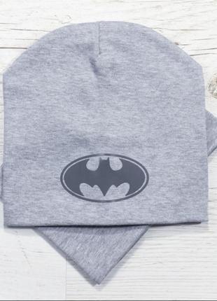 Шапка и хомут бэтмен двойной для мальчика