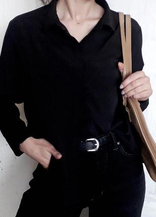 Базовая черная рубашка блуза с карманами