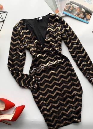👗очаровательное чёрно-золотое платье с пайетками/платье в пайетках длинный рукав👗