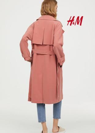 Нежный демисезонный тренч плащ пудровый розовый цвет от h&m