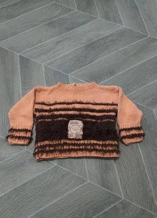 Теплые кофточка и  штанишки, домашнего плетения. (1457)
