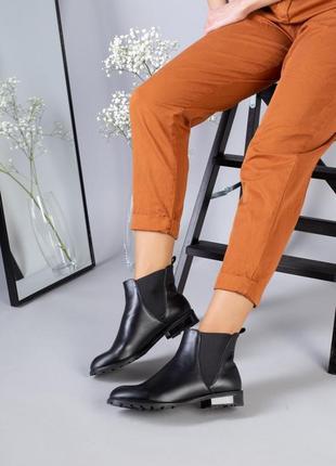 Lux обувь! кожаные натуральные демисезонные женские ботинки челси на маленьком каблуке