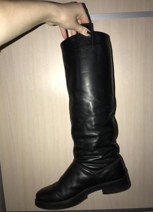 Классические высокие кожаные сапоги трубы ботфорты