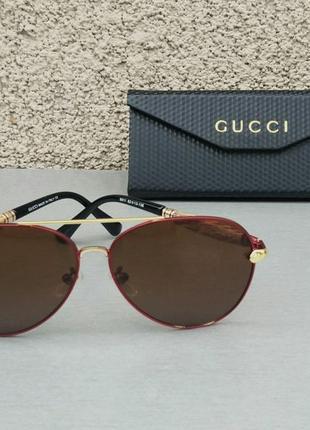 Gucci очки капли мужские солнцезащитные коричневые поляризированые