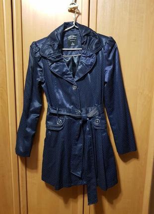 Плащ, пальто, тренч, темно-синий плащ в горошек