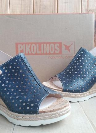 Легкие стильные полностью кожаные босоножки на танкетке pikolinos оригинал в коробке