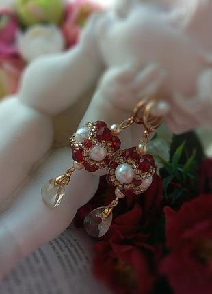 Романтичные серьги 💣 с кристаллами swarovski