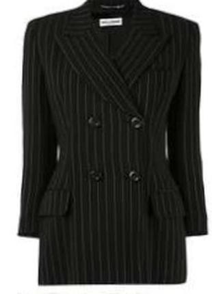 Удлинённый двубортный пиджак в полоску