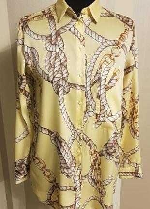 """Модная блузка рубашка светло жёлтая в орнамент """"атлас"""""""