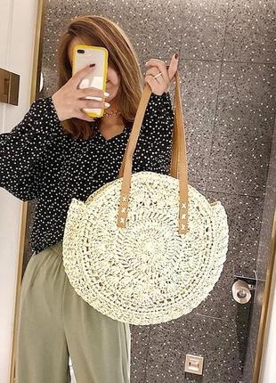 Пляжна сумка • пляжная плетёная сумка полумесяц