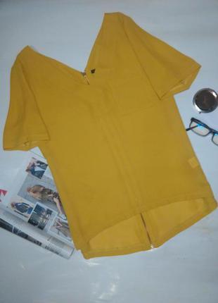 Блуза блузка горчичного цвета с замком сзади2