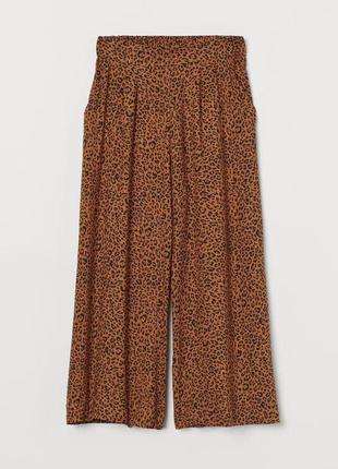 Леопардовые широкие штаны кюлоты zara