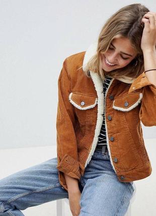Вельветовая куртка джинсовка с мехом zara
