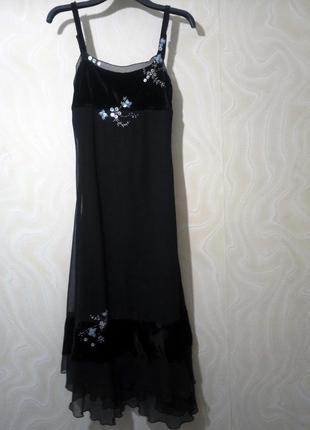 Платье saint tropez длинное чёрное вечернее велюр бархат декор бисер