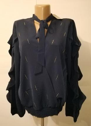 Блуза на запах новая рюши,паетки,бант river island uk 14/42/l