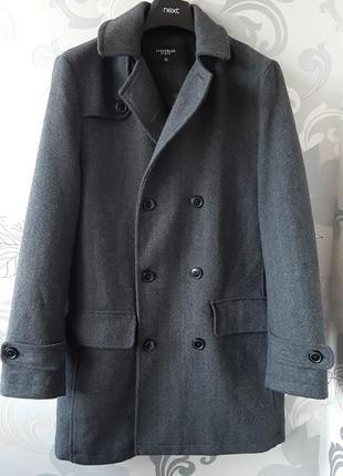 Серое шерстяное демисезонное мужское пальто в  ёлочку пиджак жакет cedarwood state