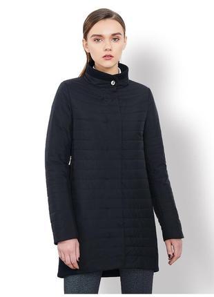 Демисезонное пальто-куртка комбинированное черное