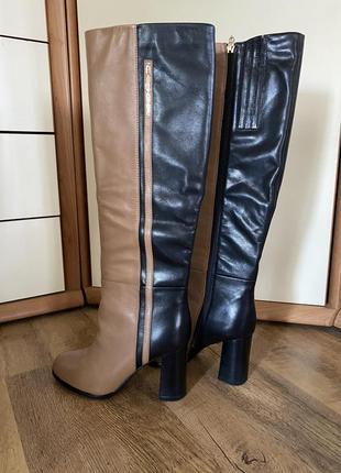 Сапоги на каблуке еврозима колорблок