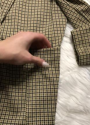Пиджак актуальный клетка гусиная лапка принт бежевый жакет тренд3 фото