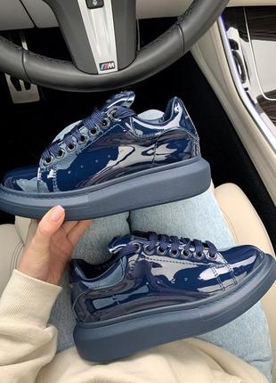 Alexander mcqueen blue  patent шикарные женские кроссовки