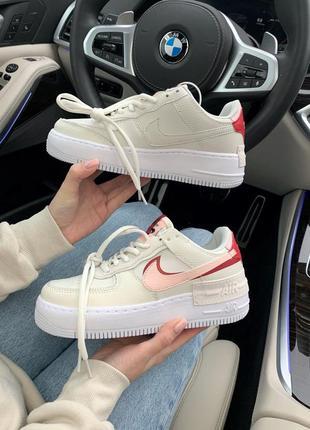 Nike air force shadow phantom  шикарные женские кроссовки найк белые с красным
