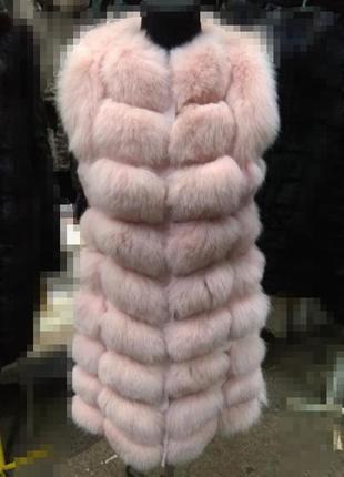 Хит продаж ‼️ жилетка натуральный песец длина 90см замш