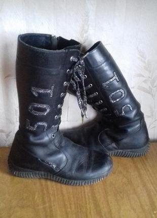 Кожаные тёплые сапожки,зимние кожаные сапожки,тёплые ботинки