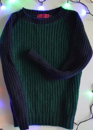 Классный вязаный свитер изумрудного цвета с синими рукавами от boohoo1