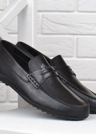 Мокасины мужские кожаные oltro португалия черные