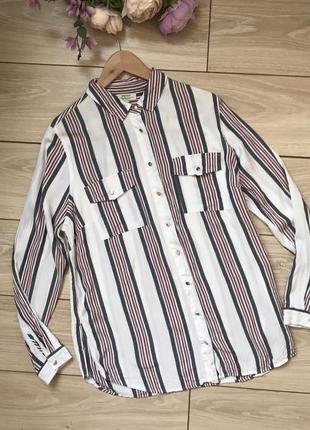 Рубашка из вискозы в полоску с разрезами размер 16