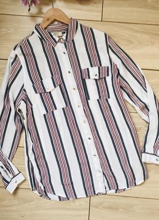 Рубашка из вискозы в полоску с разрезами размер 163 фото