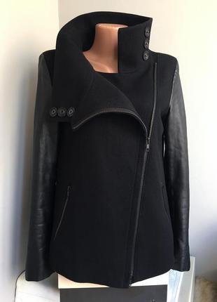 Куртка жакет косуха, натуральная кожа шерсть, с высокой горловиной.