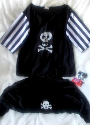 Костюм пирата на 7-10 лет: рубашка, бандана и повязка на глаз