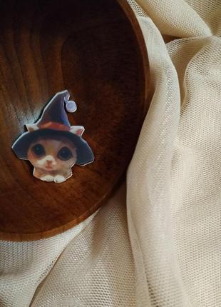 Акриловый значок, брошь, брошка ❤️😸кошка, котенок в шляпе 🎁
