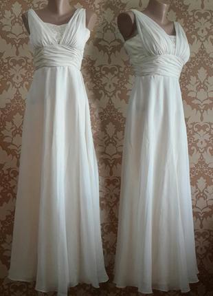 Шикарное вечернее, выпускное, бальное, концертное белое платье. размер 34.