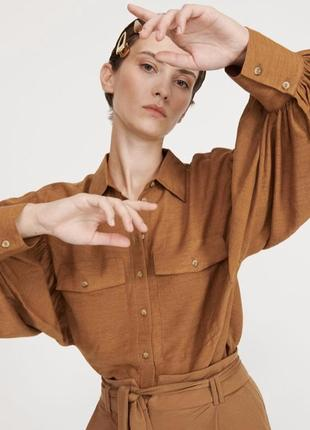 Красивая блуза- рубашка  с обьемными рукавами