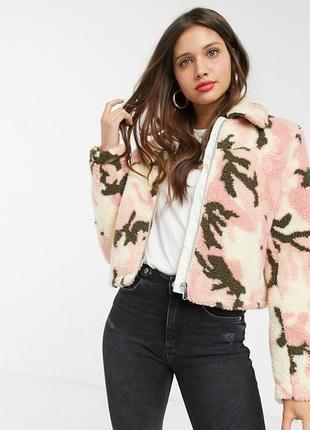 Шикарная меховая курточка в крутой принт! мягенькая удобная, на молнии, zara, boohoo,