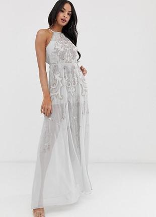 Роскошное платье серебристый лёд, паетки, бусины, стеклярус, asos, zara, peace+love,