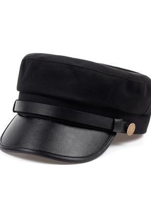 Кепи осенне- весенняя теплая кеппи картуз капитанка черная новая с кожаным козырьком asоs