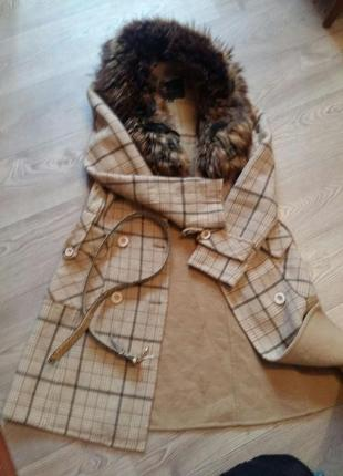 Тренч нюдовое двубортное пальто в кледку meisinisi