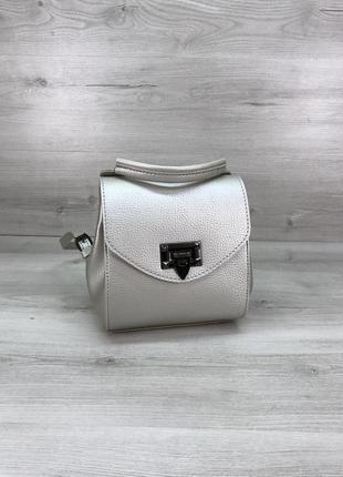 Маленький женский сумка-рюкзак серебристый