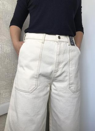 Мега крутые джинсовые кюлоты/широкие джинсы на высокой посадке 14/42