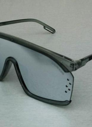 Calvin klein очки маска женские солнцезащитные зеркальные в серой прозрачной оправе